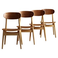 Set of 4 Dining Chairs by Sven Erik Fryklund for Hagafors, Sweden, 1960s