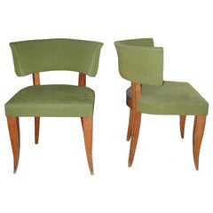 set of 4 dining chairs in Mahogany stained beech wood.