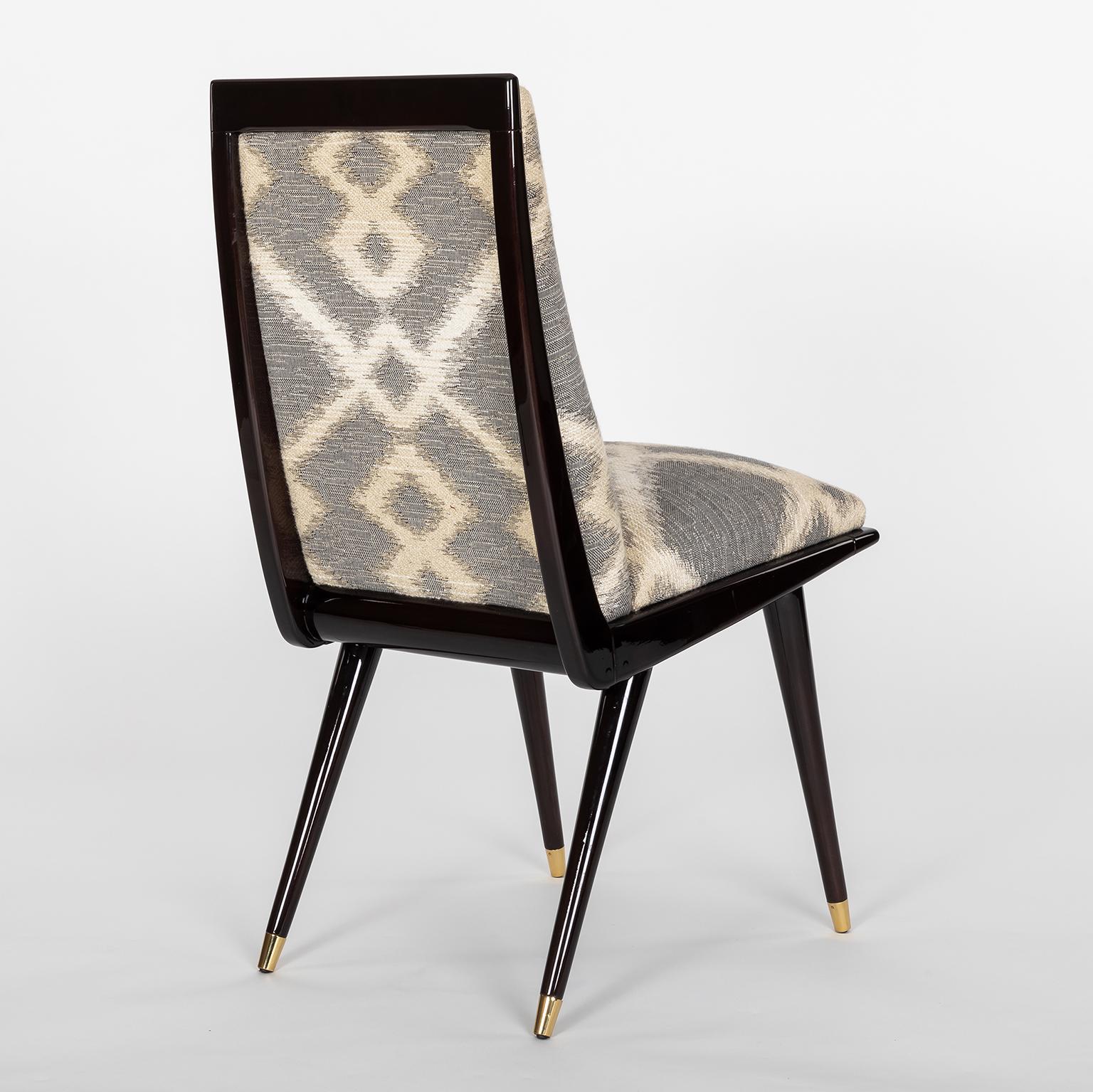Mid Century Modern Mid Century Hardwood And Brass Italian Dining Chairs In Robert  Allen