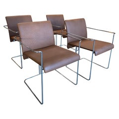 Set of 4 Dining Chairs Leather and Chrome by F.ll Saporiti, 1970s