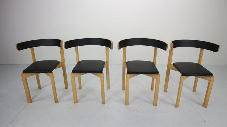 Scandinavian Modern Set of 4 Dining Room Chairs by Jørgen Gammelgaard for Schiang Møbler, Denmark For Sale