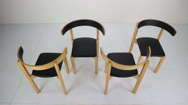 Woodwork Set of 4 Dining Room Chairs by Jørgen Gammelgaard for Schiang Møbler, Denmark For Sale