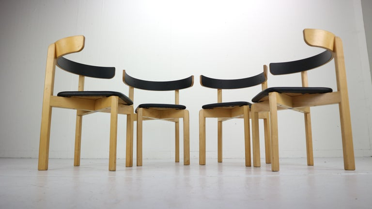 Set of 4 Dining Room Chairs by Jørgen Gammelgaard for Schiang Møbler, Denmark In Good Condition For Sale In The Hague, NL