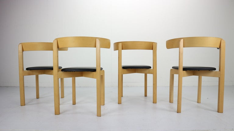 Faux Leather Set of 4 Dining Room Chairs by Jørgen Gammelgaard for Schiang Møbler, Denmark For Sale