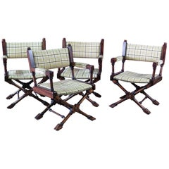 Set of 4 Turned Walnut Carved Directors Chairs with Nailhead Trim