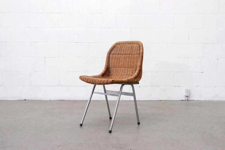 Mid-Century Modern Set of 4 Dirk van Sliedregt Rattan Dining Chairs For Sale