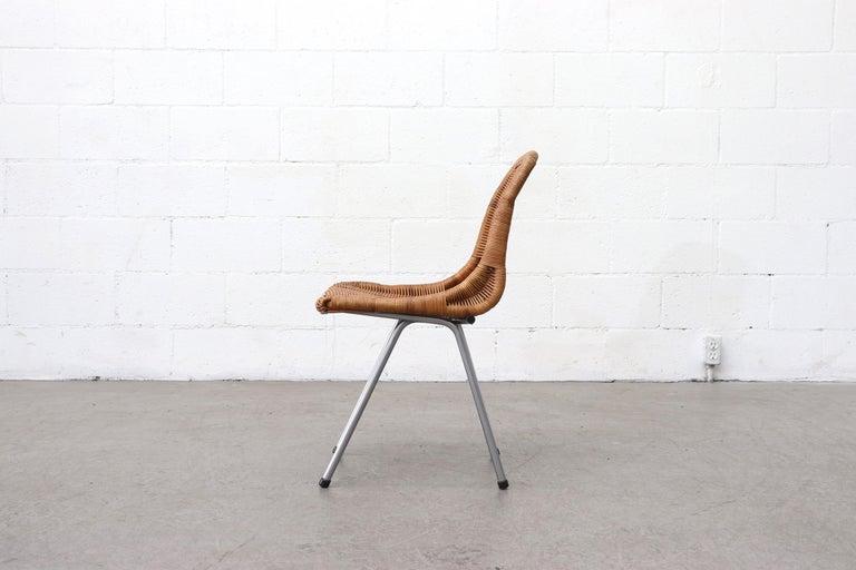 European Set of 4 Dirk van Sliedregt Rattan Dining Chairs For Sale