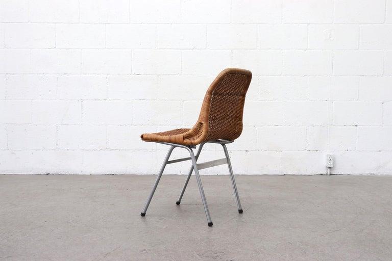 Woven Set of 4 Dirk van Sliedregt Rattan Dining Chairs For Sale