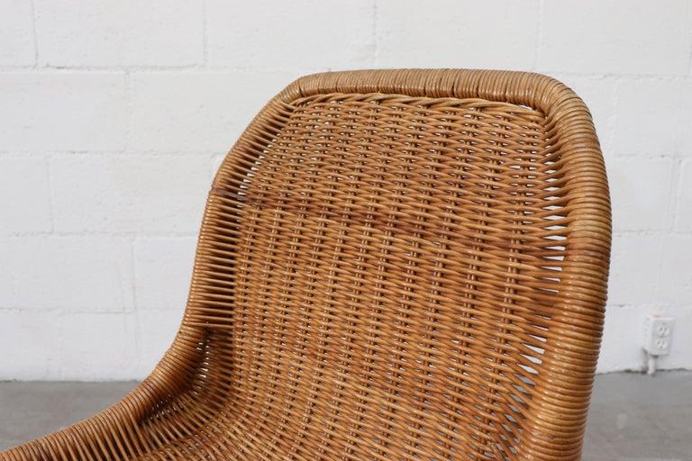 Bamboo Set of 4 Dirk van Sliedregt Rattan Dining Chairs For Sale