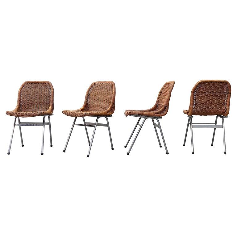 Set of 4 Dirk van Sliedregt Rattan Dining Chairs For Sale