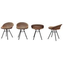 Set of 4 Dirk Van Sliedregt Style Rattan Bucket Stools