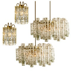 Set of 4 Doria Brass Blown Light Fixtures, Two Wall Lights and One Chandelier