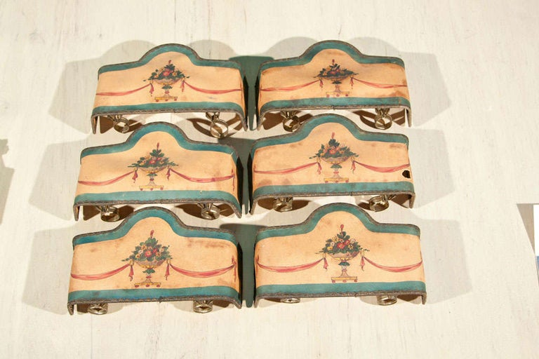 American Set of 4 Double Hand Painted Paper Lampshades For Sale
