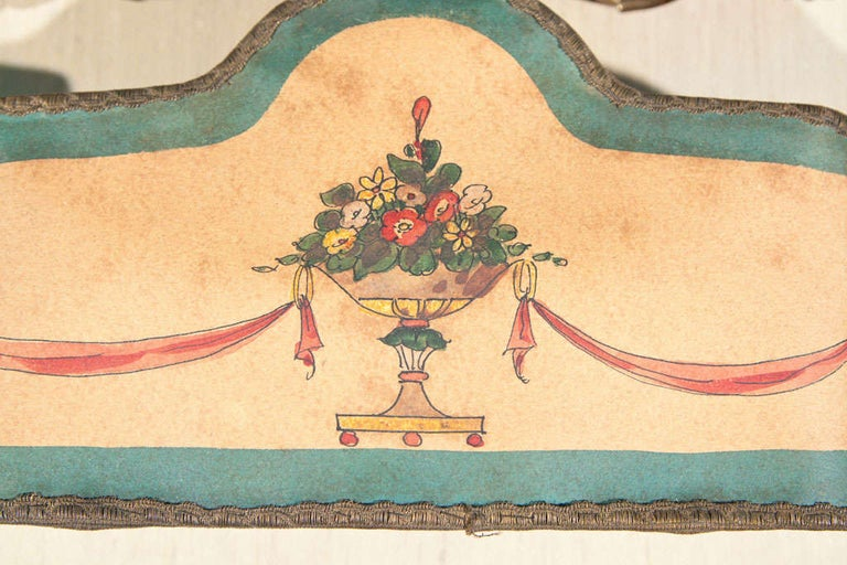 20th Century Set of 4 Double Hand Painted Paper Lampshades For Sale