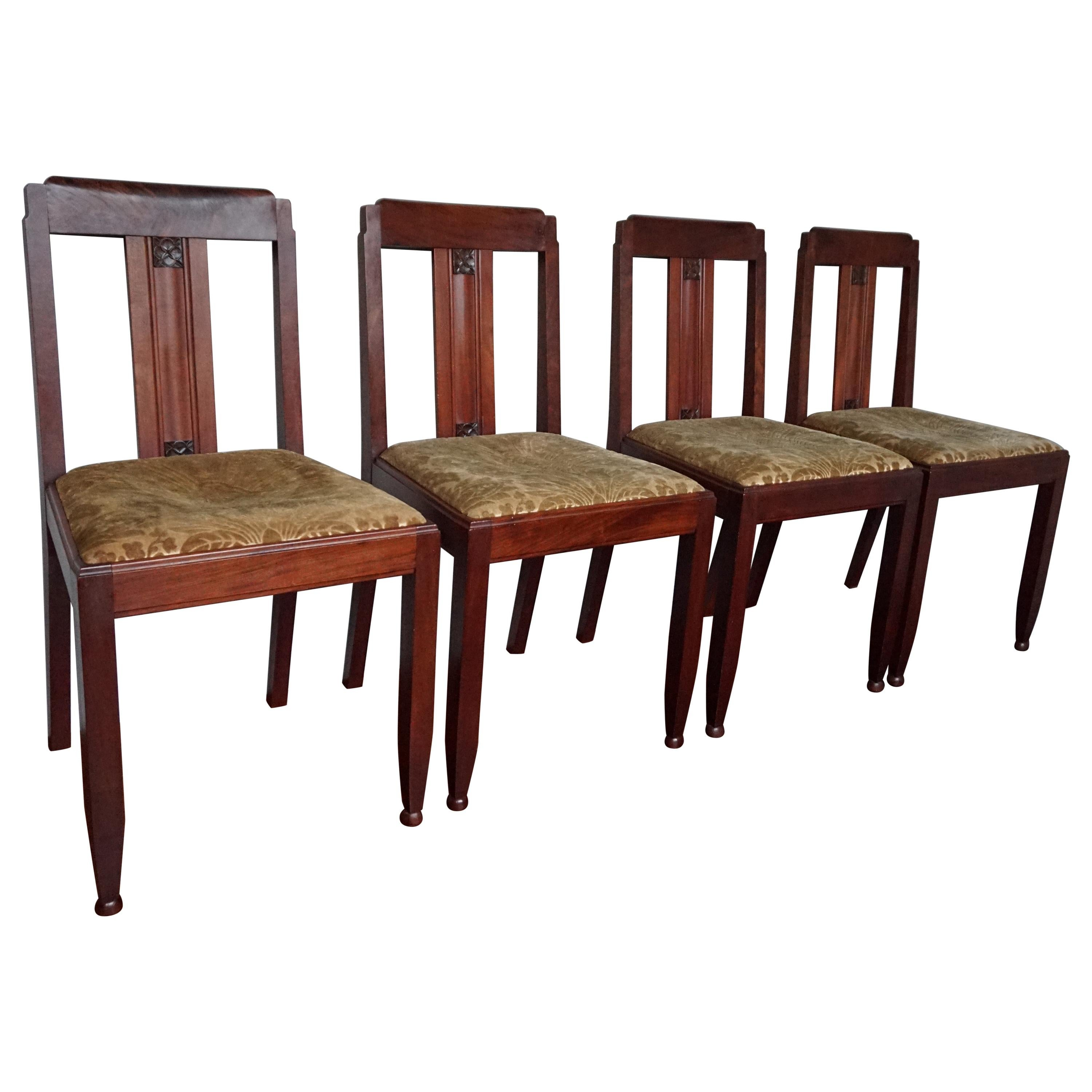 Set of 4 Dutch Arts & Crafts Mahogany Dining Chairs with Inlaid Stylized Flowers