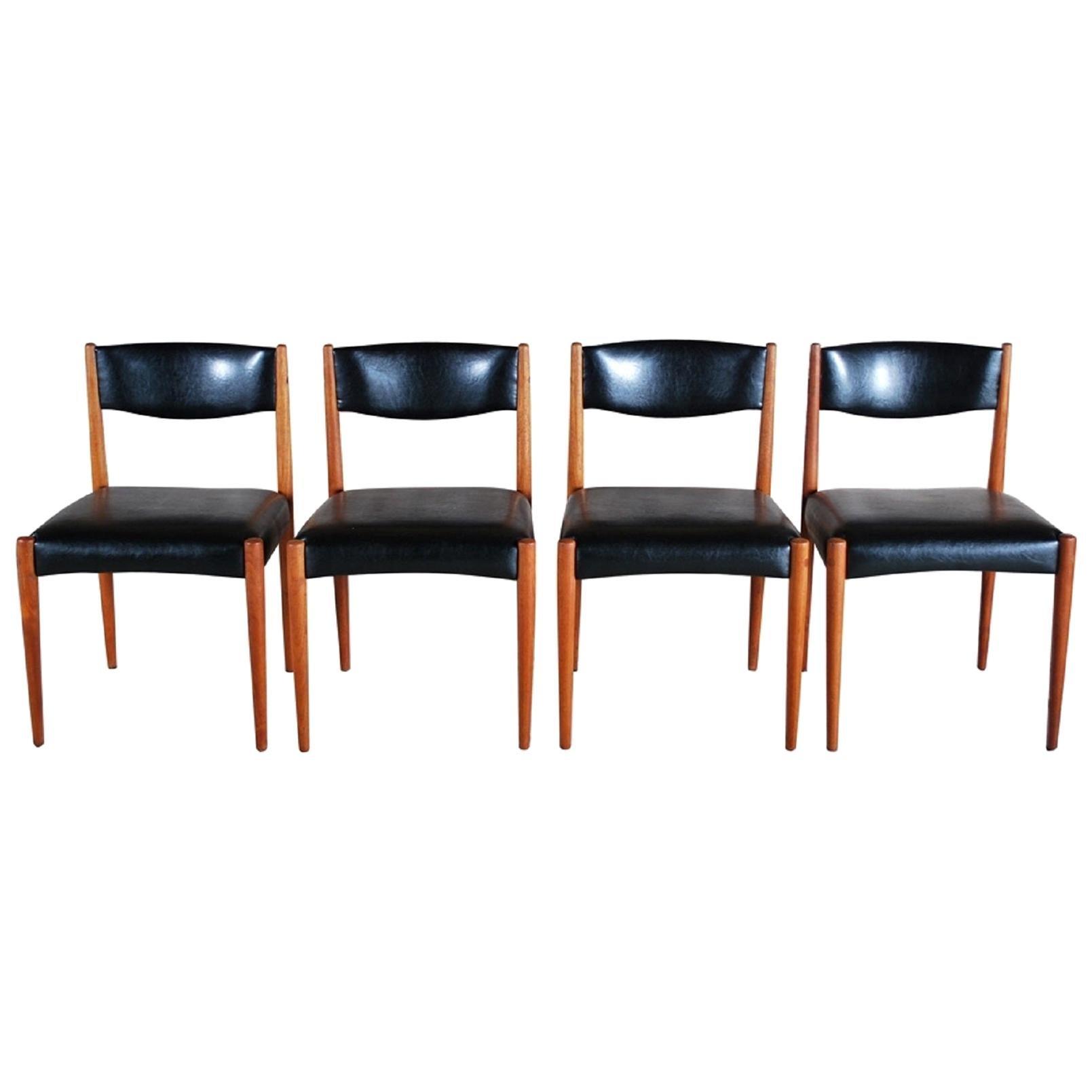 Set of 4 Dutch Mid-Century Teak Dining Chairs, 20th Century