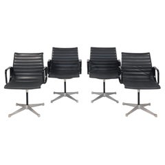 Set of 4 Eames Aluminum Group Black Leather Arm Chairs for Herman Miller