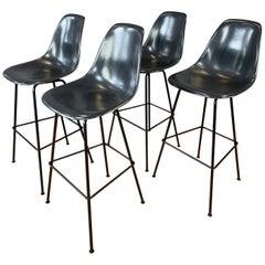 Set of 4 Eames for Herman Miller Dark Grey Molded Fiberglass Bar Stools