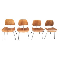 Set of 4 Eames Walnut DCM Dining Chairs Herman Miller Edition