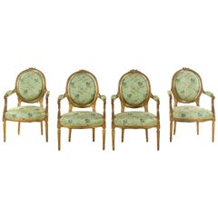 Set of 4 Early 19th Century French Louis XVI Giltwood Oval Back Armchairs