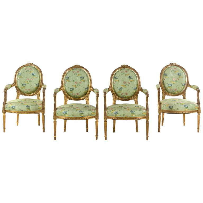 Set of 4 Early 19th Century French Louis XVI Giltwood Oval Back Armchairs For Sale