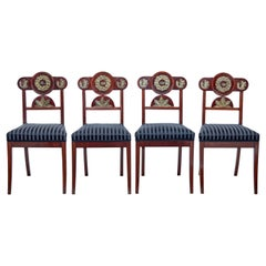 Set of 4 Early 19th Swedish Mahogany Empire Dining Chairs