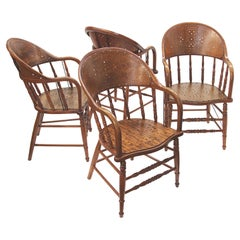 Set of 4 Early 20th Century Vintage Oak Spindle Back Captain Firehouse Chairs