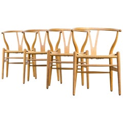 Set of 4 Early Original Hans Wegner CH24 Wishbone Chairs, circa 1955