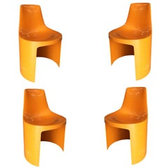 Set of 4 Early Swedish Orange Plastic Stacking Side Chairs by Overman
