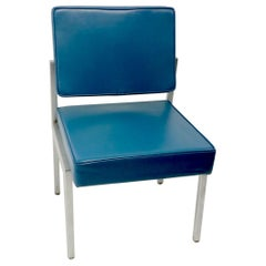 Set of 4 EMECO Dining Chairs with Steel Frames and Blue Vinyl Upholstery