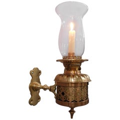 Set of 4 Brass and Bronze Candle Hurricane Lantern Sconces, England, 1890