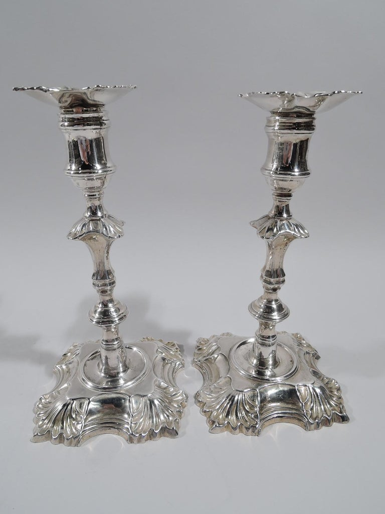 Set of 4 English Georgian Sterling Silver Candlesticks In Excellent Condition In New York, NY