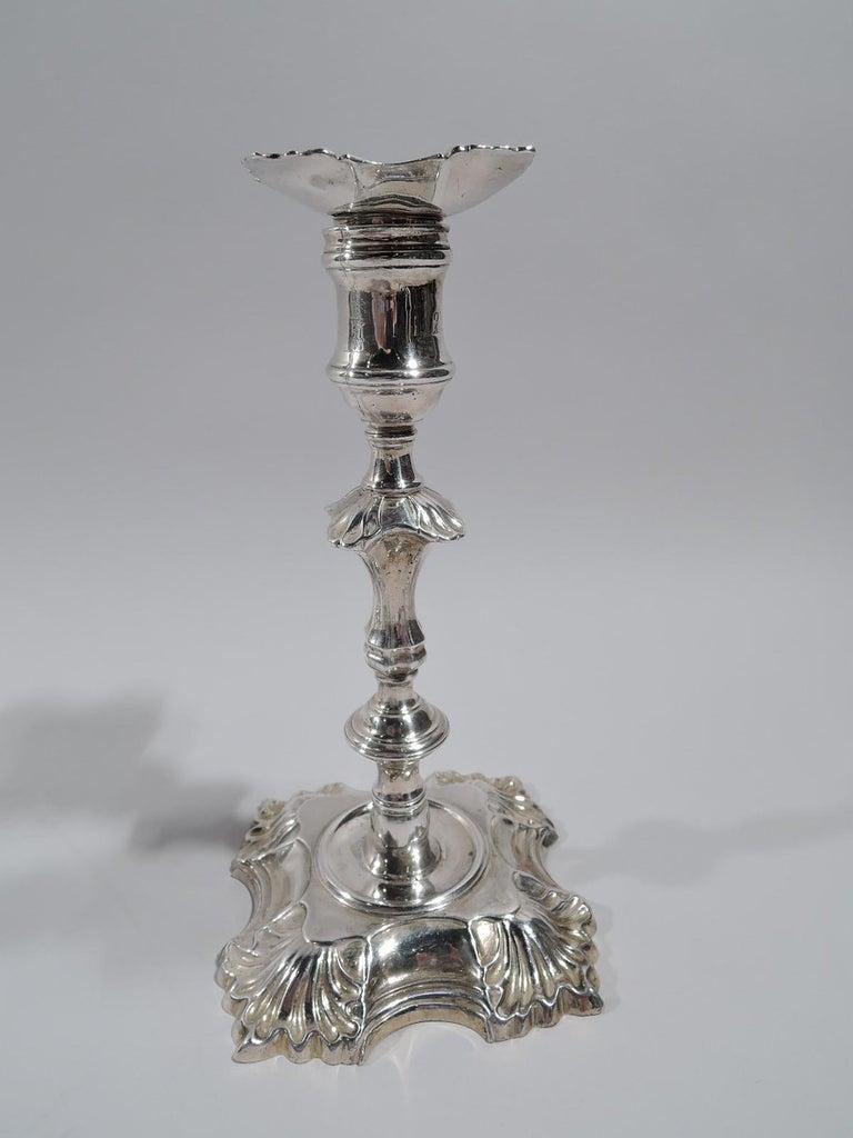 Mid-18th Century Set of 4 English Georgian Sterling Silver Candlesticks