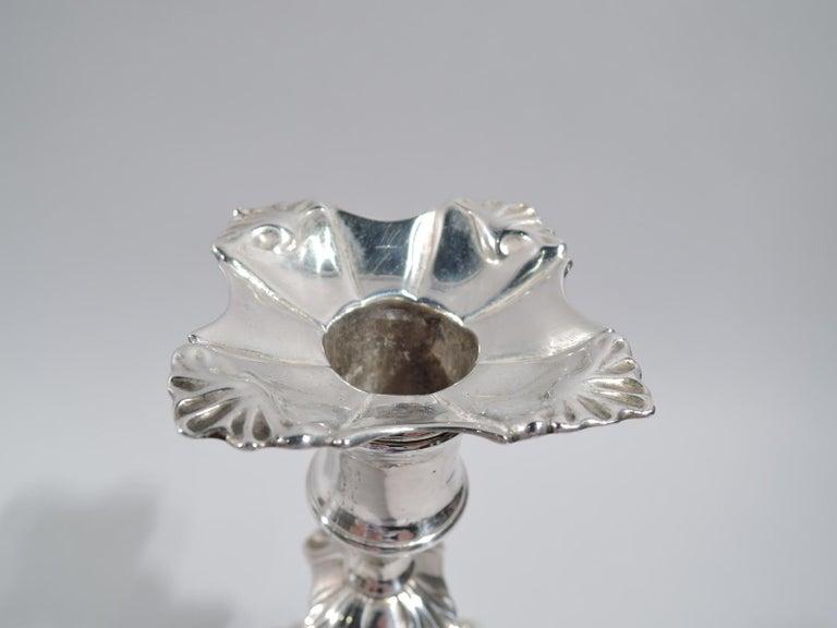 Set of 4 English Georgian Sterling Silver Candlesticks 1