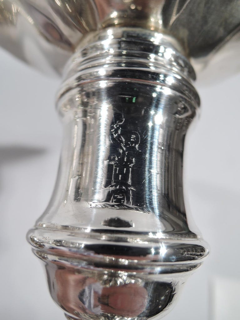 Set of 4 English Georgian Sterling Silver Candlesticks 3