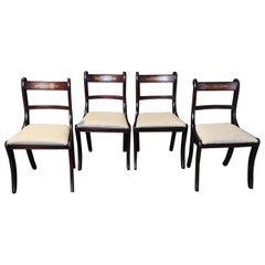 Set of 4 English Regency Mahogany and Brass Inlaid Dining Chairs