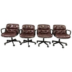 Set of 4 Executive Chairs by Charles Pollock for Knoll International in Leather