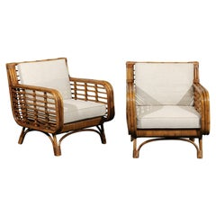 Set of 4 Fabulous Restored Birdcage Style Rattan and Cane Loungers, circa 1955