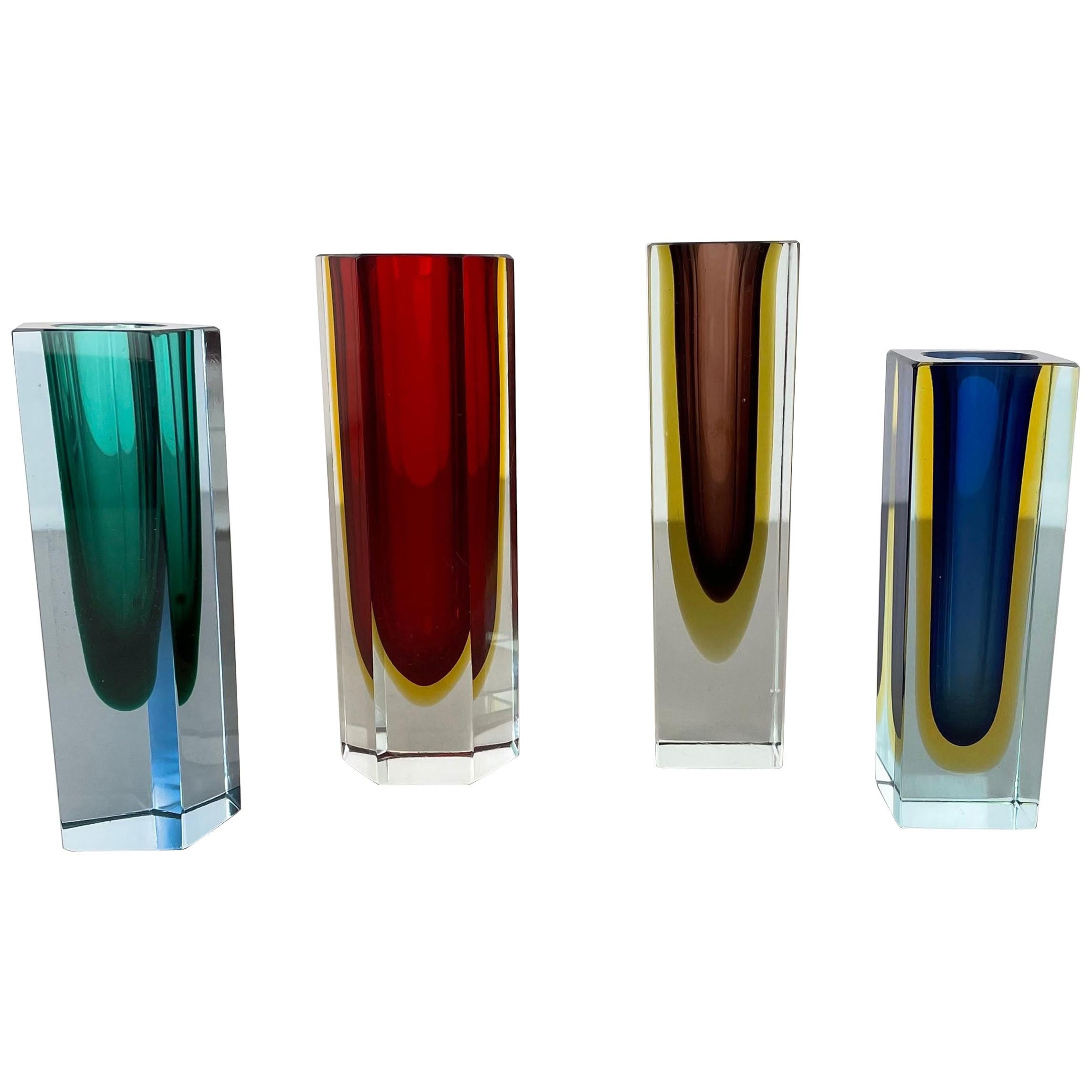 Set of 4 Faceted Murano Glass Sommerso Vases attri. Flavio Poli, Italy, 1970s
