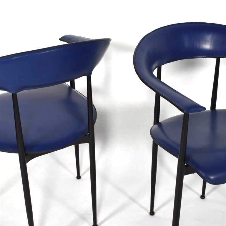 Set of 4 Fasem P40 Leather Dining Chairs by Vegni and Gualtierotti, Italy For Sale 4