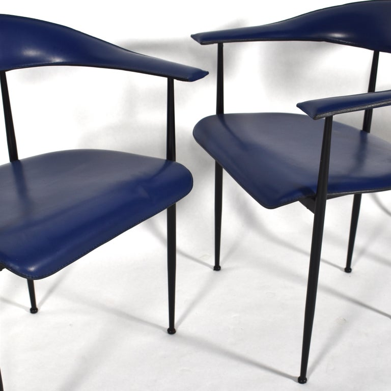 Set of 4 Fasem P40 Leather Dining Chairs by Vegni and Gualtierotti, Italy For Sale 5