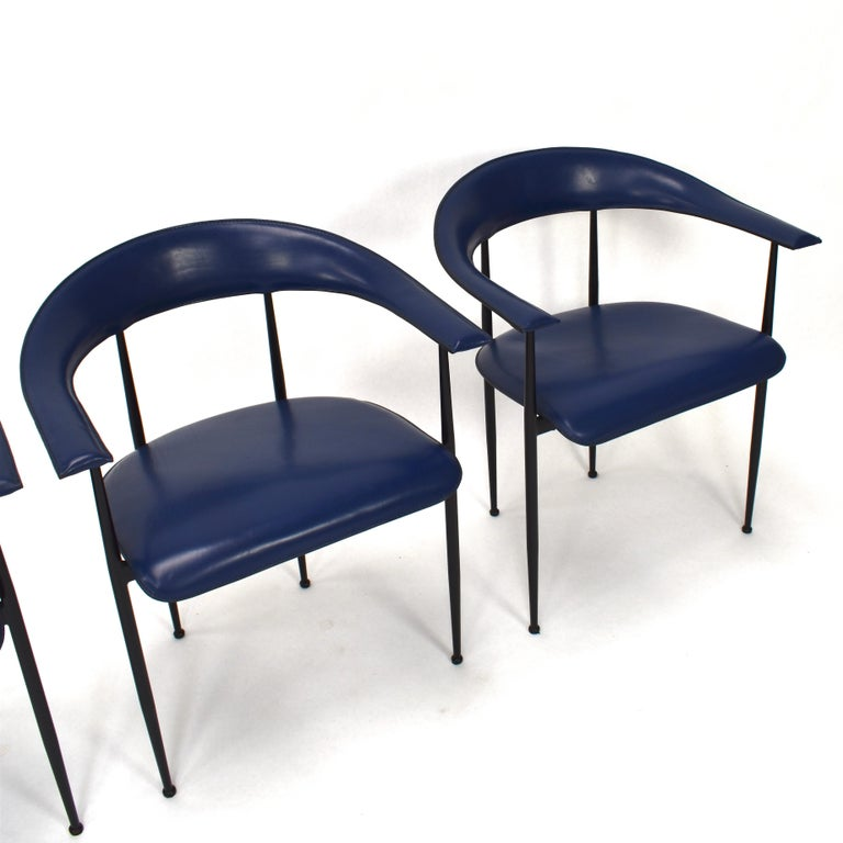 Set of 4 Fasem P40 Leather Dining Chairs by Vegni and Gualtierotti, Italy For Sale 11