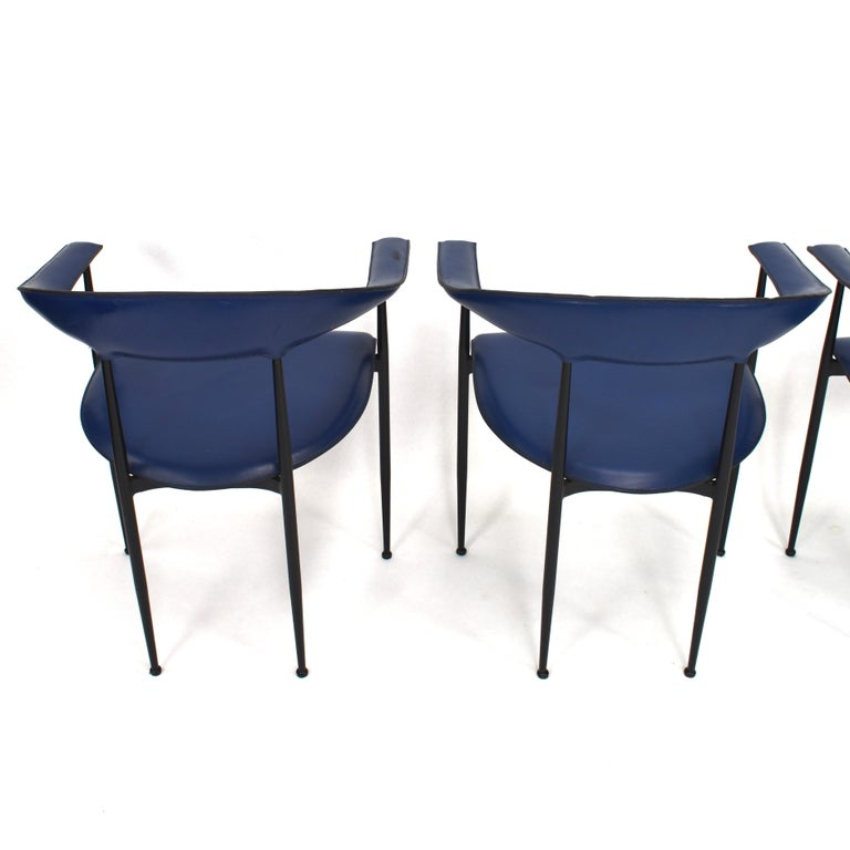 Italian Set of 4 Fasem P40 Leather Dining Chairs by Vegni and Gualtierotti, Italy For Sale