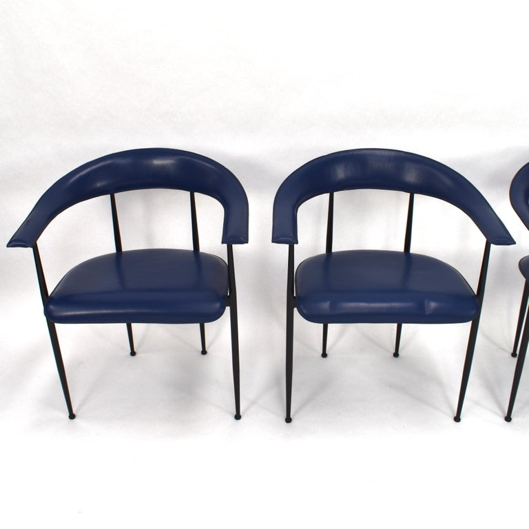 20th Century Set of 4 Fasem P40 Leather Dining Chairs by Vegni and Gualtierotti, Italy For Sale