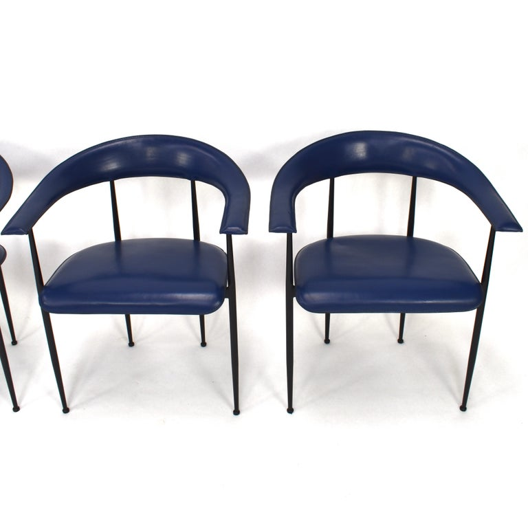 Metal Set of 4 Fasem P40 Leather Dining Chairs by Vegni and Gualtierotti, Italy For Sale