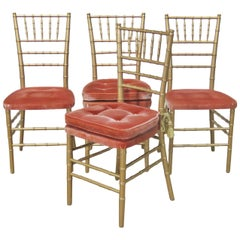 Set of 4 Faux Bamboo Dining Side Chairs
