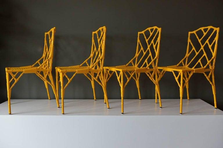 Set Of 4 Ay Faux Bamboo Metal Chairs By Venemen California Ca 1960