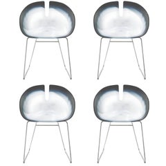 Set of Four Fjord H Dining Chairs with White Leg and Water Effect Shell, Moroso