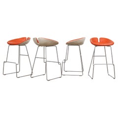 Set of 4 Fjord Leather Bar Stools by Patricia Urquiola for Moroso