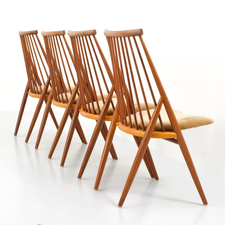 Mid-20th Century Set of 4 'Flamingo' Chairs by Thea Leonard for Nassjo Stolefrabrik, Sweden, 1960 For Sale